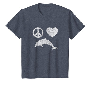 Dolphin Shirt PEACE LOVE DOLPHINS Girls Women Vintage Gift