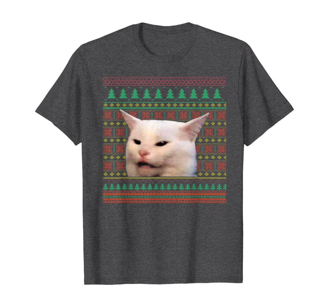 Woman Yelling at a Cat Meme Pajama Christmas Sweater Ugly T-Shirt