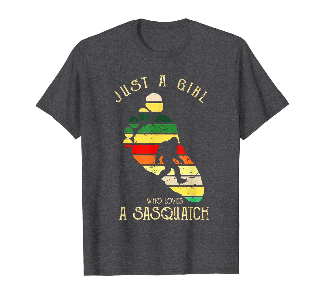 Just A Girl Who Loves A Sasquatch Bigfoot Vintage Shirt