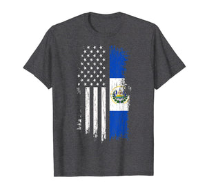 Salvadoran America Flag T-Shirt - El Salvador USA Shirt