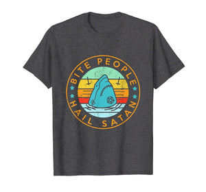Bite People Hail Satan Shark Retro Vintage T-Shirt