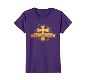 He is Risen! Easter T-Shirt for Christians with Gold Cross