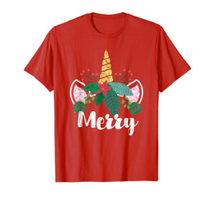 Unicorn Christmas Holly Merry Cute Gift for Girls Women T-Shirt