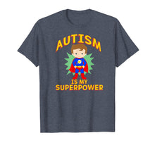 Load image into Gallery viewer, AUTISM IS MY SUPERPOWER TShirt Superhero Boy Brown Hair Walk