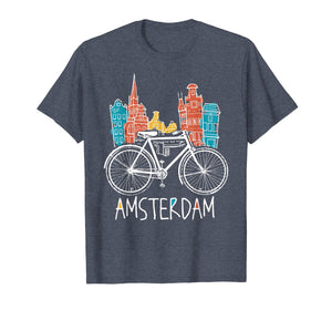 Amsterdam T-Shirt Retro Netherlands Bicycle Bike Gift