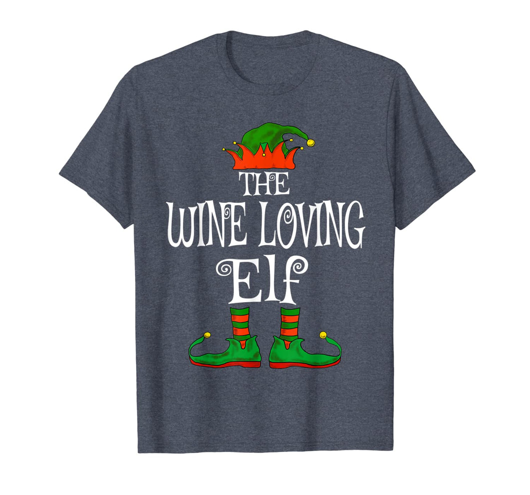 The Wine Loving Elf Family Matching Funny Christmas Gift T-Shirt