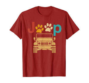 Vintage Jeeps Retro 70s Sunset Paw Print Dog Cat Lover Gift T-Shirt