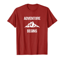 Load image into Gallery viewer, Adventure Begins - Hiking Camping Mountain Climber T-shirt