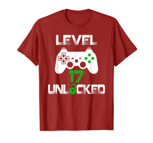 Load image into Gallery viewer, Level 17 Unlocked T-Shirt 17 Year Old Gamer Birthday Gift