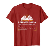 Load image into Gallery viewer, Abibliophobia Shirt | Book Hangover Lover Reading Nerd Tee