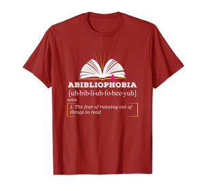 Abibliophobia Shirt | Book Hangover Lover Reading Nerd Tee