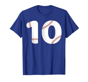 Number #10 BASEBALL Team Shirt - 10 Pitcher Batter Tee
