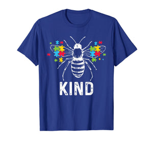 Autism Awareness Bee Kind Puzzle Pieces T Shirt Autist Tee