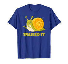 Load image into Gallery viewer, Snailed It Funny T Shirt, Large Happy Snail for Men, Women