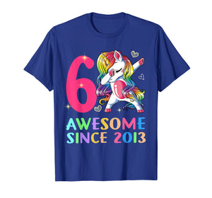6 Years Old 6th Birthday Unicorn Dabbing Shirt Girl Party