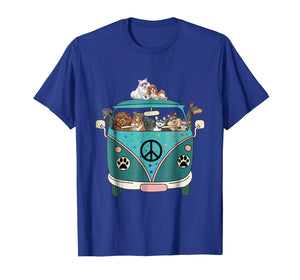 Dogs Peace Bus Hippie Funny T-Shirt