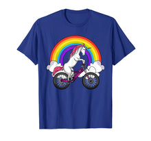 Load image into Gallery viewer, Unicorn Riding Bike Magical Rainbow Bicycle Women Girl Shirt