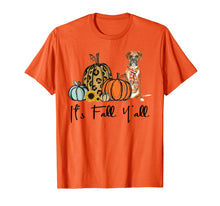 Load image into Gallery viewer, It's Fall Y'all Yellow Boxer Dog Leopard Pumpkin Falling T-Shirt