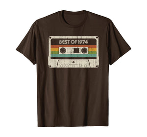 Vintage Best of 1974 45th Birthday Cassette T-Shirt