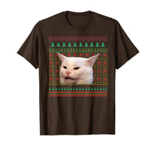 Load image into Gallery viewer, Woman Yelling at a Cat Meme Pajama Christmas Sweater Ugly T-Shirt
