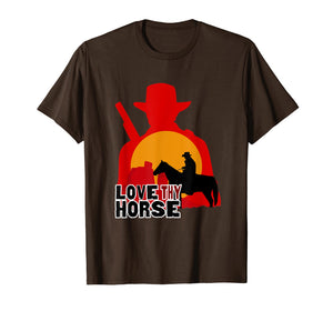 Red Horse Sunset T Shirt - LOVE THY HORSE Cowboy Gift