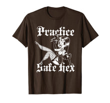 Load image into Gallery viewer, Blackcraft Practice Safe Hex T-Shirt Sexy Witchy Pin Up 50s
