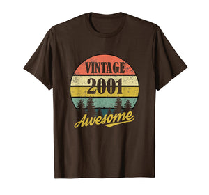 Retro Vintage 2001 TShirt 18th Birthday Gifts 18 Years Old