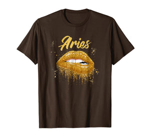 Aries Zodiac Birthday Golden Lips T-Shirt for Black Women
