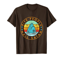 Load image into Gallery viewer, Bite People Hail Satan Shark Retro Vintage T-Shirt