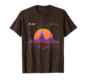 cyberpunk outrun synthwave sunset fast car aesthetic t shirt