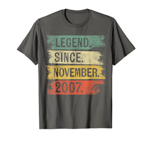 Legend Since November 2007 12 Year Old 12th Birthday Gifts T-Shirt