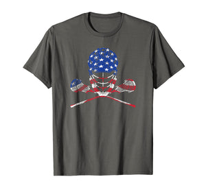 Lacrosse Shirt American Flag, Lax Helmet And Sticks T-Shirt