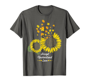 Autism Mom Dad Shirt Gifts Sunflower Autism Puzzle Piece