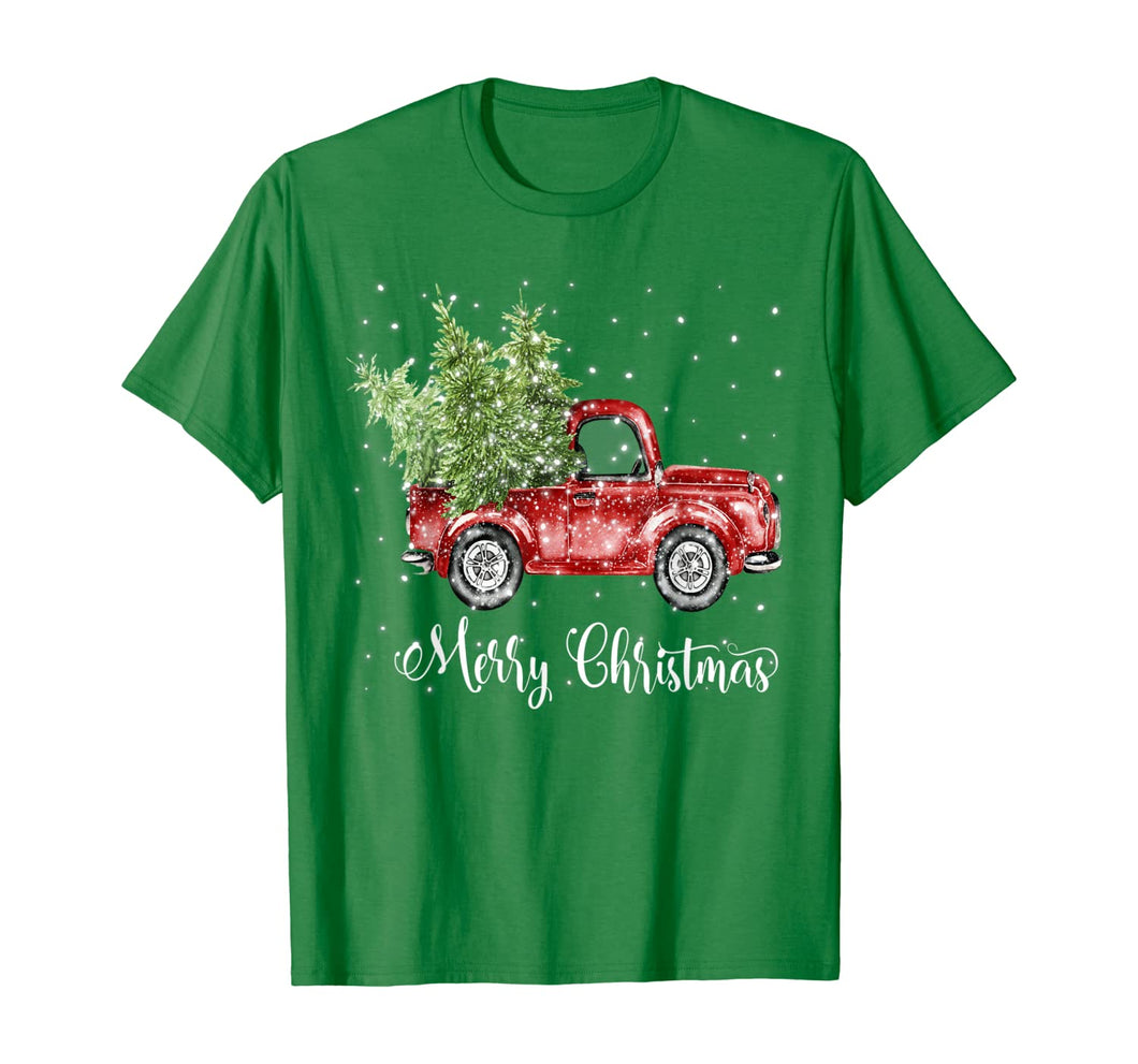Vintage Red Truck With Merry Christmas Tree T-Shirt Gifts T-Shirt