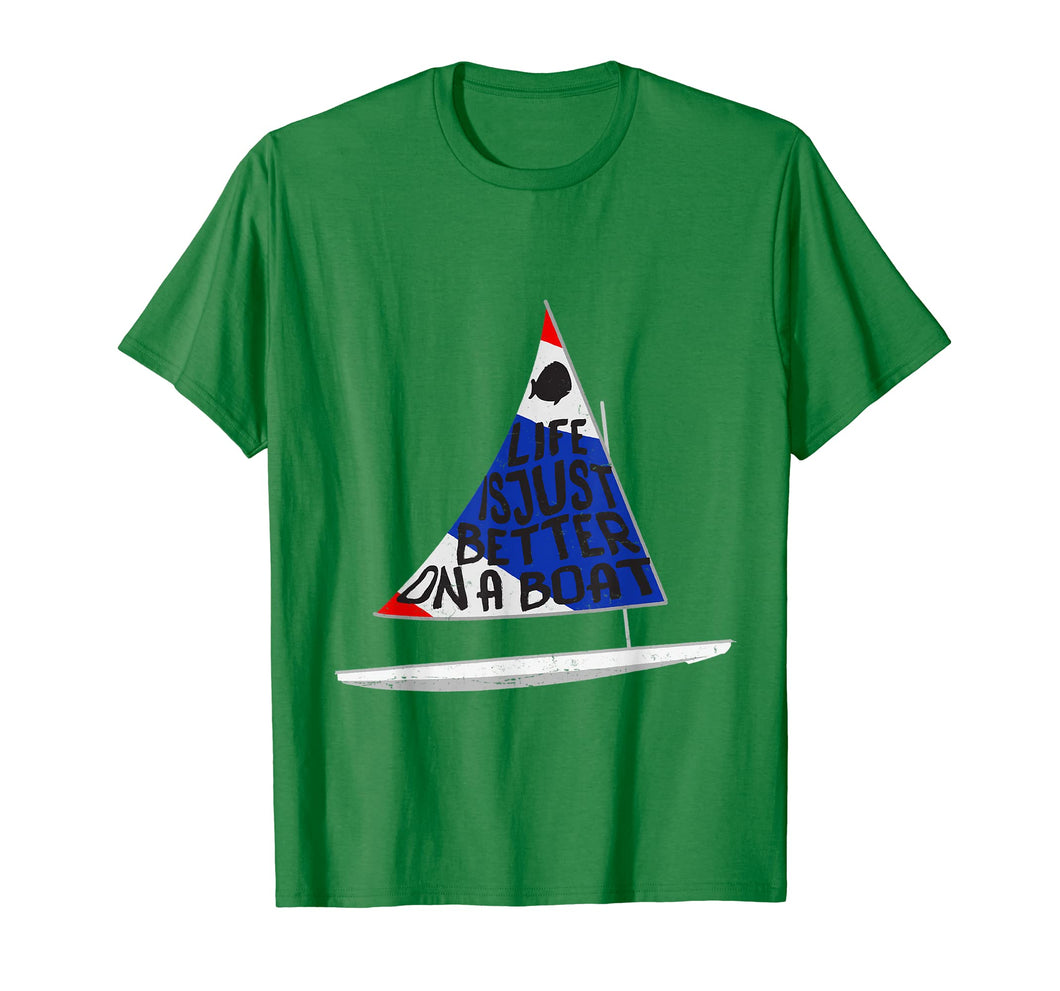Life Is Just Better Sunfish Sailboat USA Colors Sailing Tee