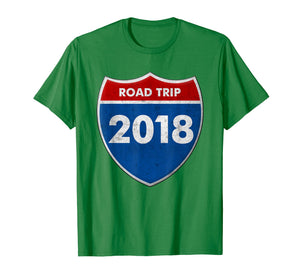 Road Trip 2018 Road Sign T Shirt Family Friends Vacation