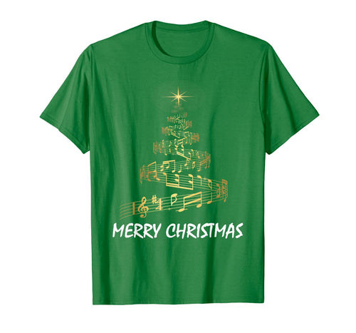 Music Note Tree Wish You A Merry Christmas Musical Gift T-Shirt