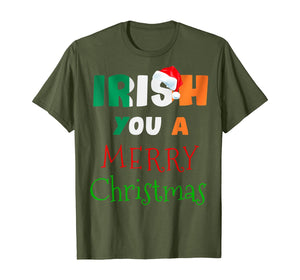 Irish You a Merry Christmas Ireland Flag Xmas Holidays Gift  T-Shirt