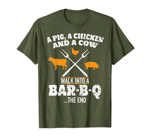 A Pig A Chicken And A Cow Funny BBQ T-Shirt BBQ Joke Shirt