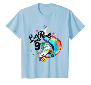 Kids 9 Year Old Birthday Shirt Girl Roller Skate Unicorn Outfit