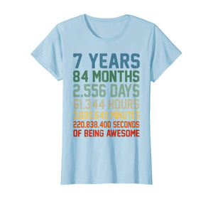 Vintage 7th Birthday 7 Years Old Wedding Anniversary Gift T-Shirt