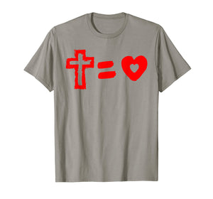Cross Equals Love Heart Christian Easter Men Women T Shirt