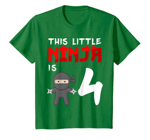 Kids This Little Ninja is 4 Year Old T-Shirt 4th Birthday Boy