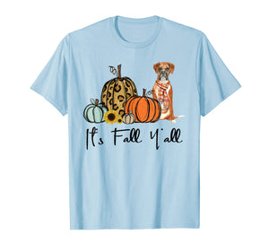 It's Fall Y'all Yellow Boxer Dog Leopard Pumpkin Falling T-Shirt