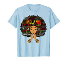 Load image into Gallery viewer, Melanin Words Art T-Shirt Afro Natural Hair Black Queen Gift