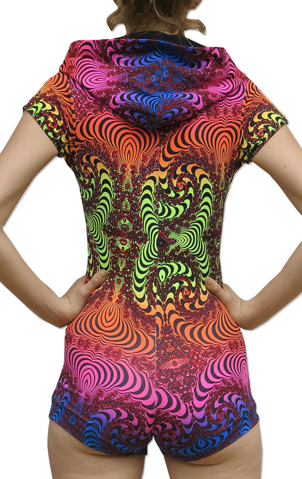Hooded Playsuit : Rainbow Fractal