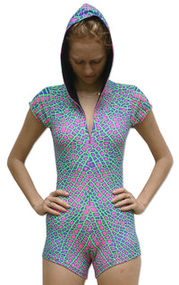 Hooded Playsuit : Acid Dragonfly