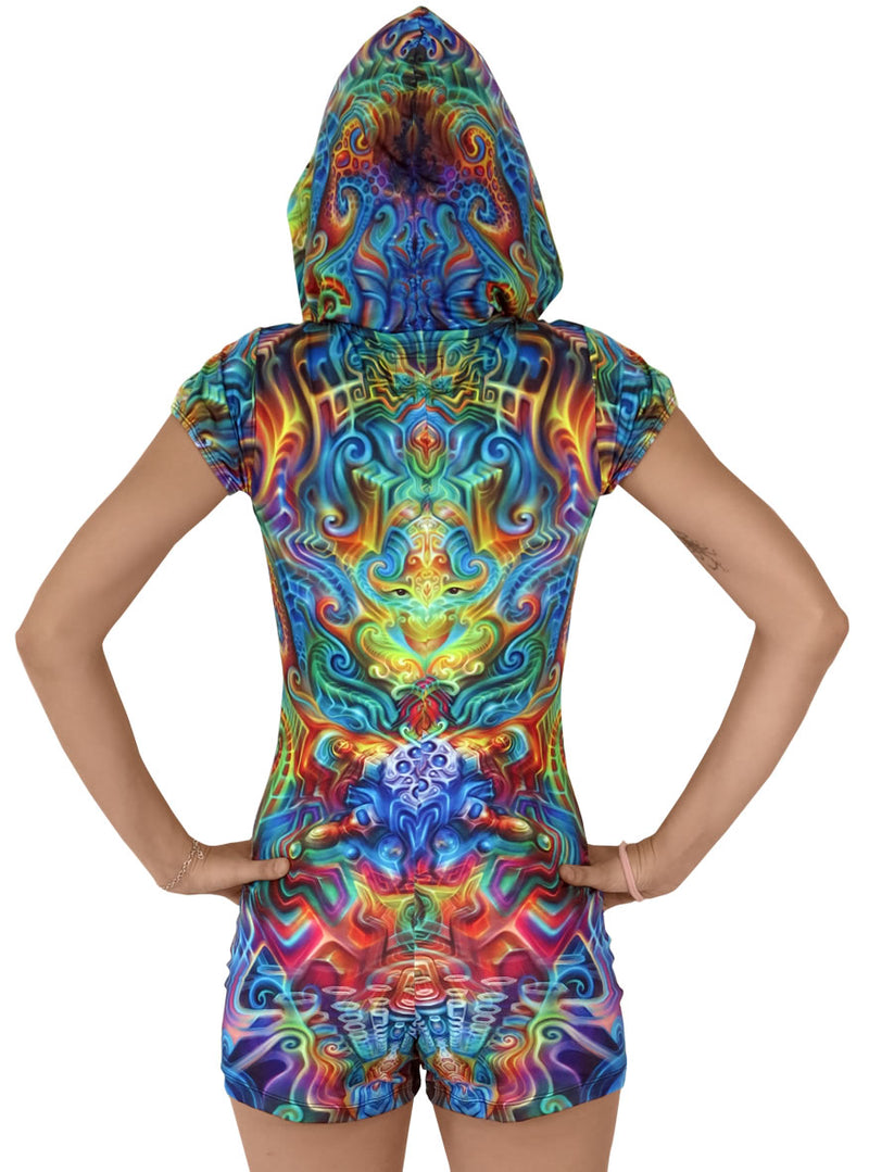 Sublime Hooded Playsuit : Holographic Altar