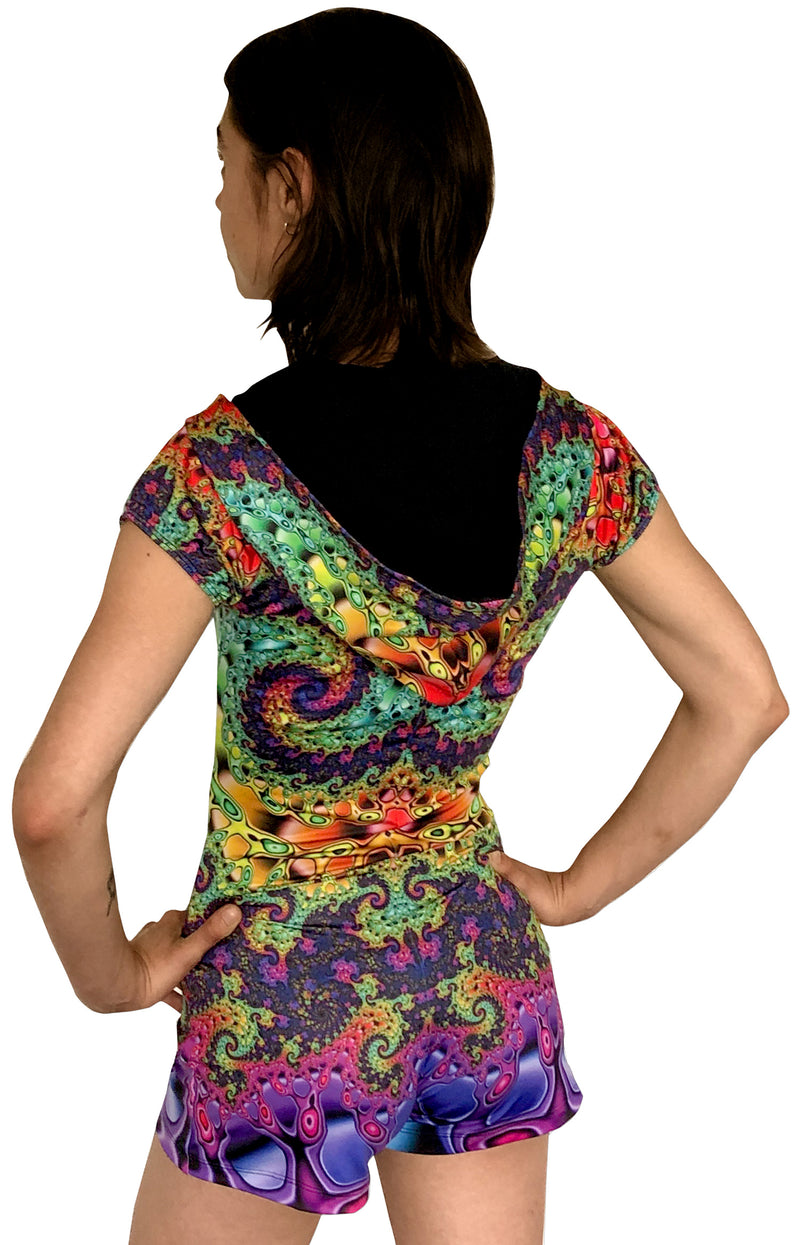 Sublime Hooded Playsuit : Whirlpool Fractal