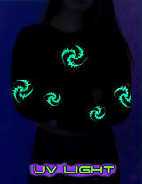 Cropped Sweat : UV Lime Triskelion